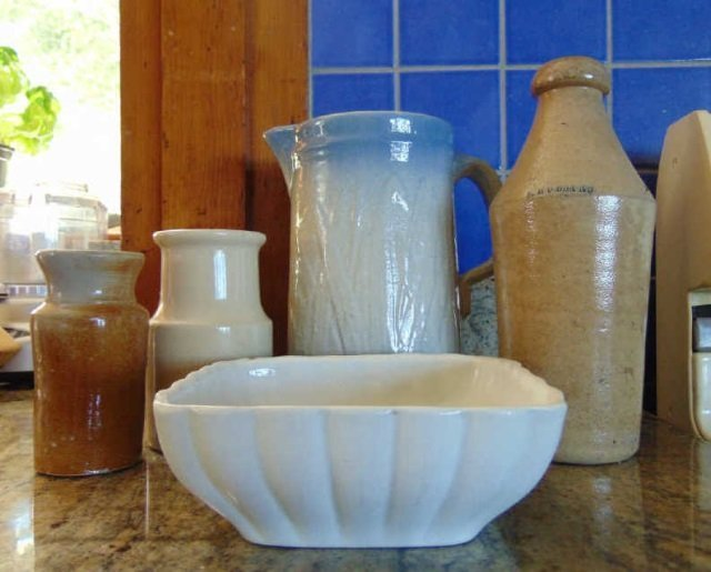 Assorted Antique Stoneware Crocks & Items
