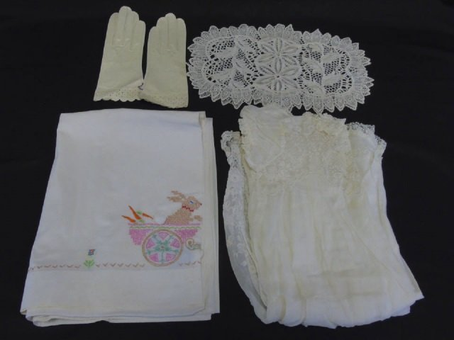 Antique Lace Christening Gown, Gloves & Doilies