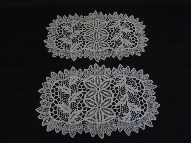 Antique Lace Christening Gown, Gloves & Doilies - 2