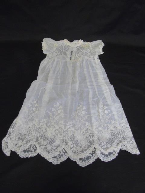 Antique Lace Christening Gown, Gloves & Doilies - 4