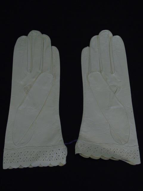 Antique Lace Christening Gown, Gloves & Doilies - 6