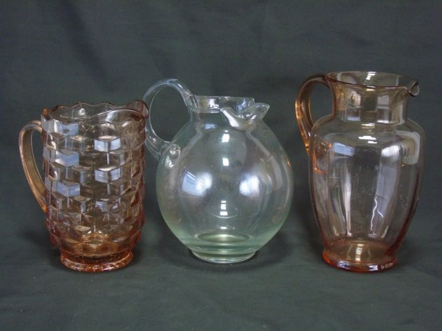 3 Vintage Depression Glass Pitchers