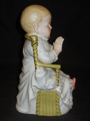 Pair of Bisque Painted Piano Baby Statues - 3