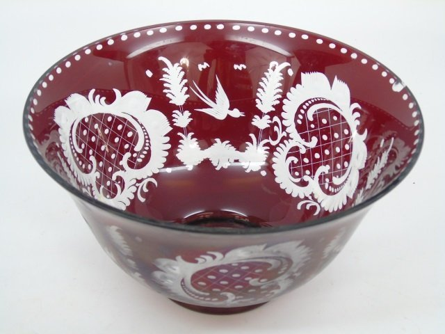 Large Antique Ruby Bohemian Glass Center Bowl
