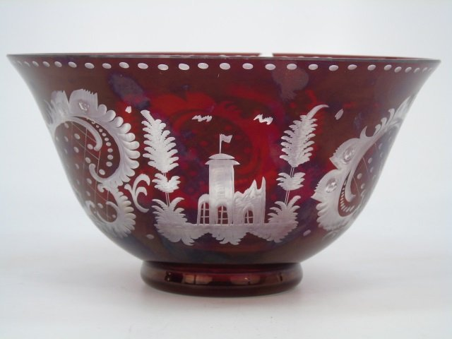 Large Antique Ruby Bohemian Glass Center Bowl - 2
