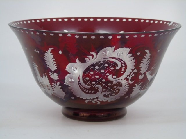 Large Antique Ruby Bohemian Glass Center Bowl - 3