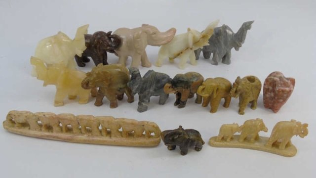 Collection of Various Stone Elephant Figures