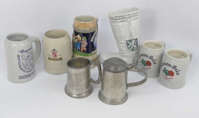 Collection of German Beer Steins, Mugs, Boot