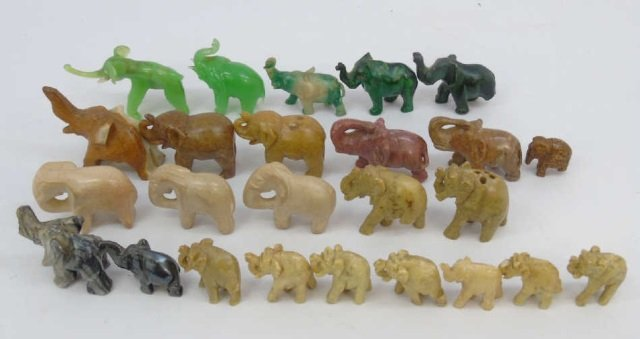 Collection of Small Hand-Carved Stone Elephants