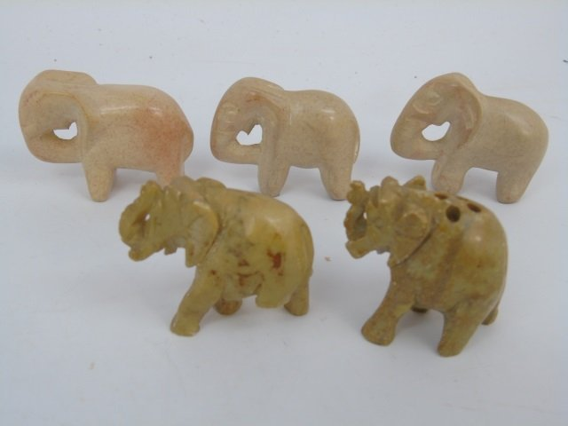 Collection of Small Hand-Carved Stone Elephants - 4
