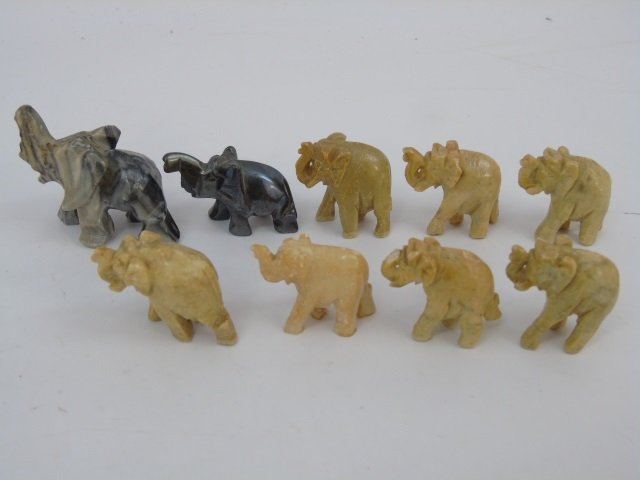 Collection of Small Hand-Carved Stone Elephants - 5