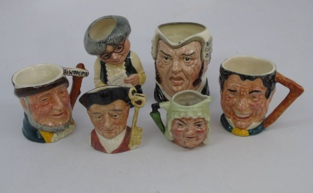 Lot of 6 Vintage English Royal Doulton Toby Mugs