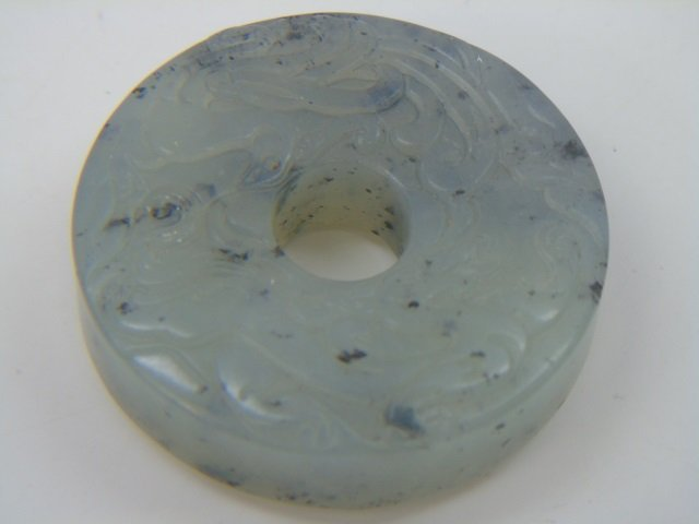 Chinese Jade or Hardstone Carved Bi Disc - 3
