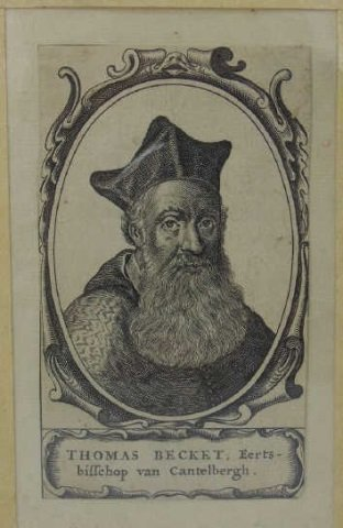 Antique 18th C Engraving Archbishop Thomas Becket