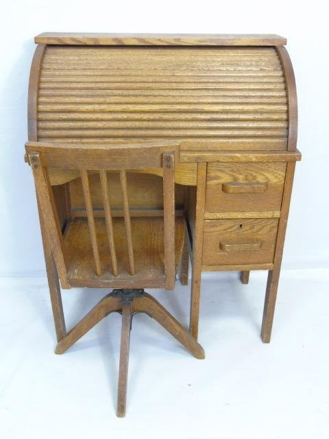 Antique Child Size Oak Roll Top Desk w/ Chair