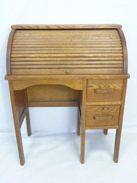 Antique Child Size Oak Roll Top Desk w/ Chair - 3