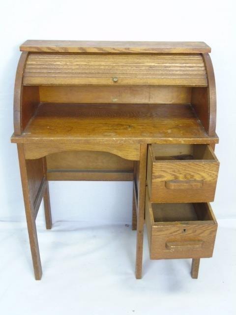 Antique Child Size Oak Roll Top Desk w/ Chair - 4
