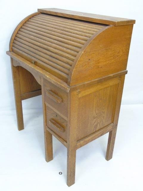 Antique Child Size Oak Roll Top Desk w/ Chair - 5