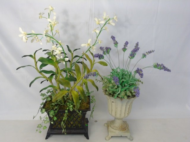Two Contemporary Silk Floral Arrangements in Pots