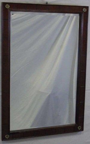 Mahogany Mirror with Brass Rosettes
