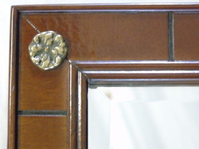 Mahogany Mirror with Brass Rosettes - 2