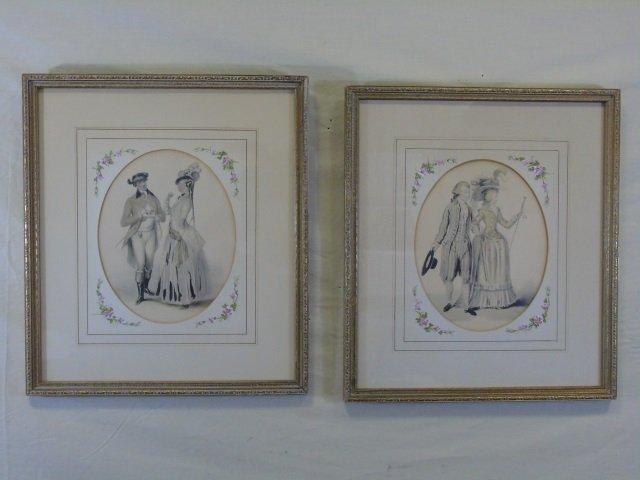 Pair of 19th Century Courtship Portrait Prints