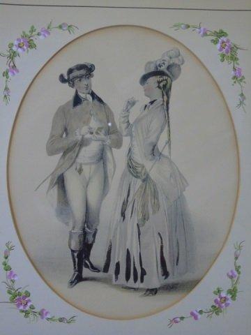 Pair of 19th Century Courtship Portrait Prints - 2