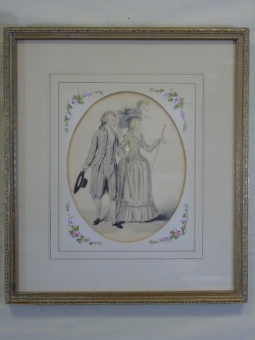 Pair of 19th Century Courtship Portrait Prints - 3