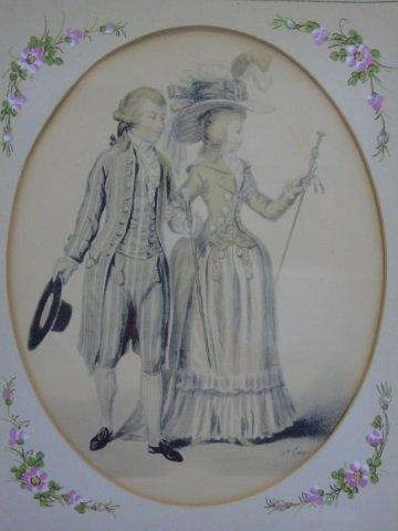 Pair of 19th Century Courtship Portrait Prints - 4