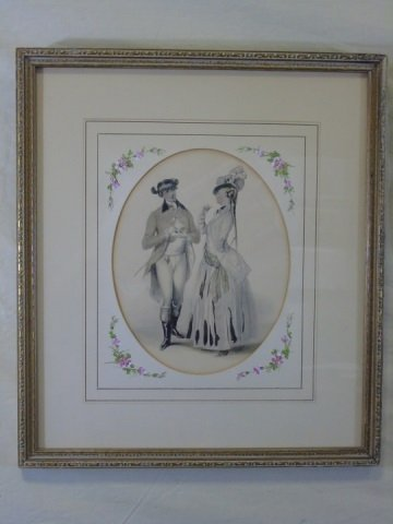 Pair of 19th Century Courtship Portrait Prints - 6