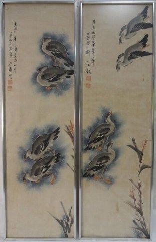 Pair of Vintage Japanese Watercolor Paintings