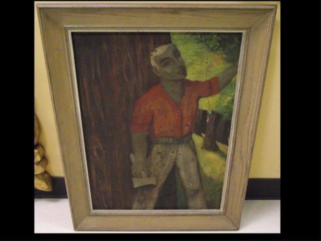 J. Bickman - WPA - Lumberjack in Forest