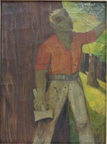 J. Bickman - WPA - Lumberjack in Forest - 2