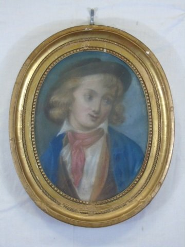 Antique French School Pastel of a Boy
