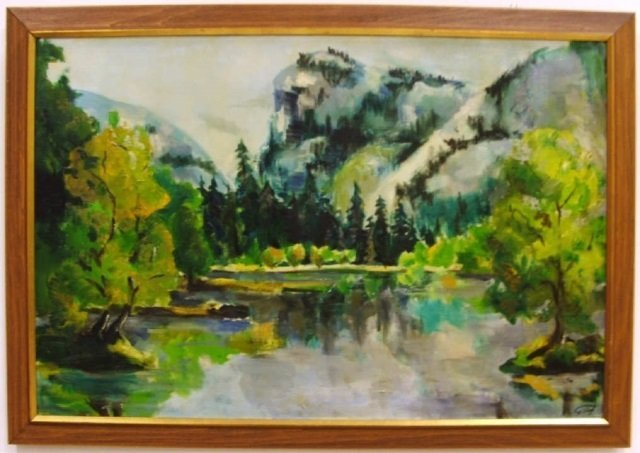 G. Vogt Waterscape with Mountains - Oil on Canvas