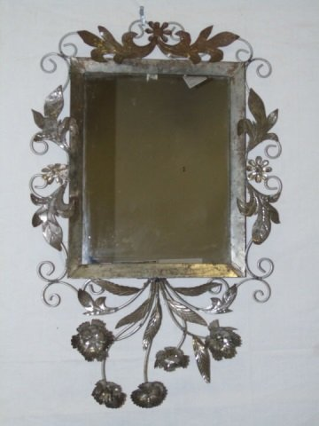 Vintage Tin Mirror w/ Flowers