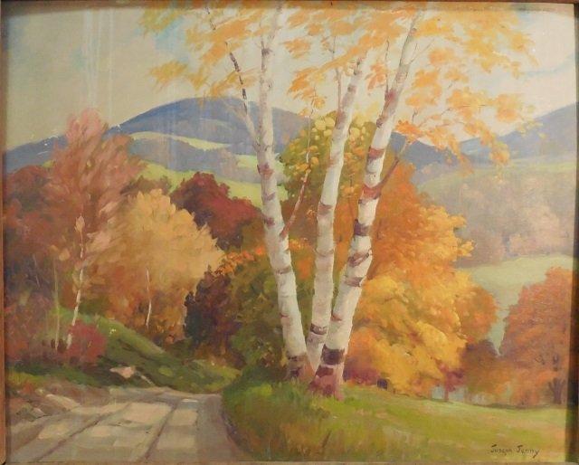 Joseph Jenny Oil on Canvas of Landscape in Fall - 2