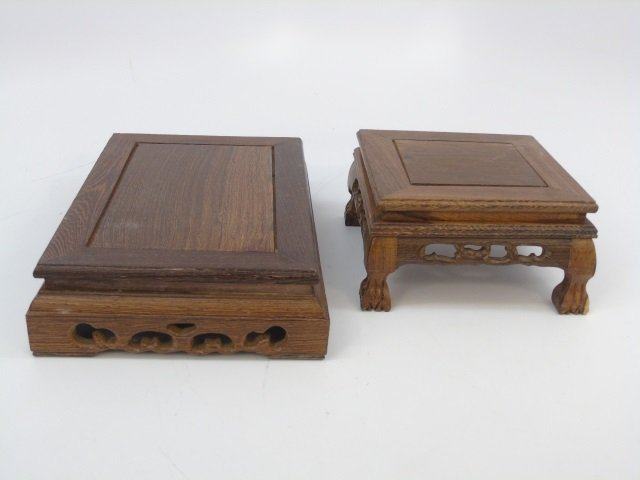Two Carved Chinese Wood Bases for Display