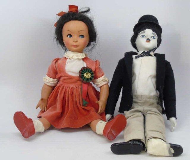 2 Vintage Dolls Bonani & Charlie Chaplin