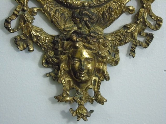 Antique Gilt Metal Small Wall Hanging Mirror - 2