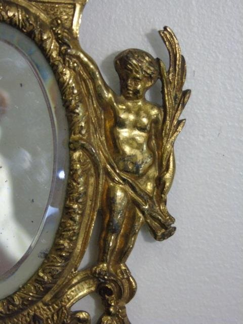 Antique Gilt Metal Small Wall Hanging Mirror - 4