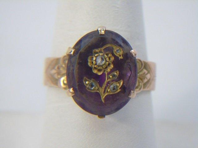 Antique Victorian Gold Amethyst Diamond Ring