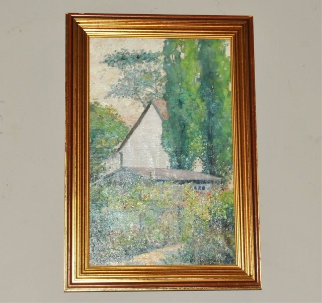 Signed Belle HAWGOOD Oil of House & Garden