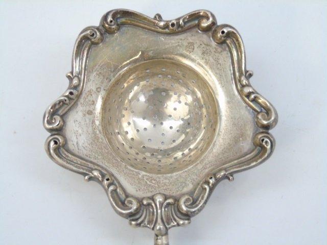 Antique Sterling Silver Tea Strainer w/ Handle - 6