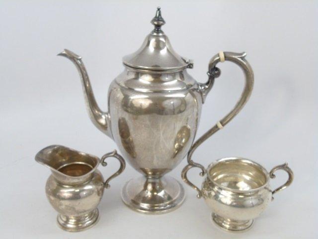 Antique Gorham Sterling Silver 3 Piece Tea Set