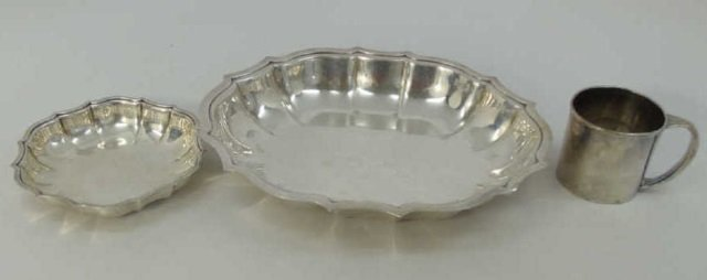 Three Antique Silver Plate Serving Items