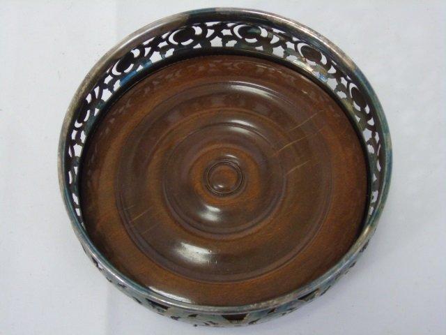 Silver Plate & Wood Wine Bottle Coasters - 4