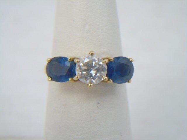 Estate 3 Carat Diamond & Sapphire 18kt Gold Ring