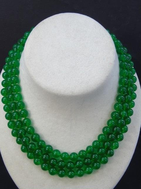 Triple Strand Beaded Chinese Jade Necklace