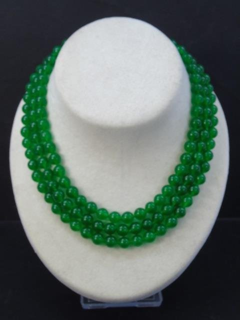 Triple Strand Beaded Chinese Jade Necklace - 2